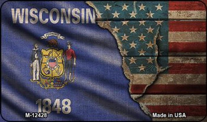 Wisconsin/American Flag Novelty Metal Magnet M-12428