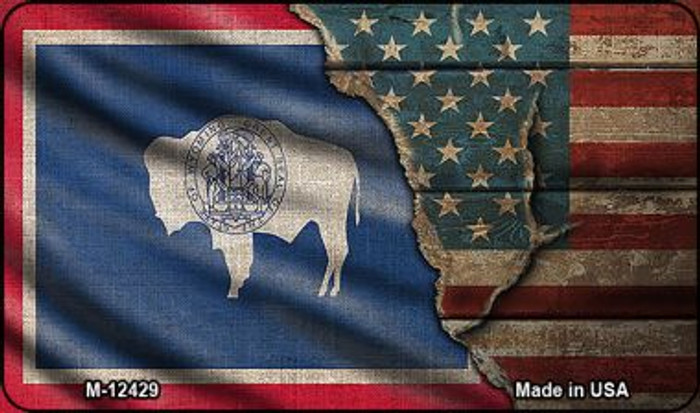 Wyoming/American Flag Novelty Metal Magnet M-12429