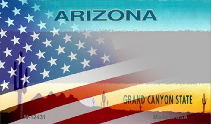 Arizona with American Flag Novelty Metal Magnet M-12431