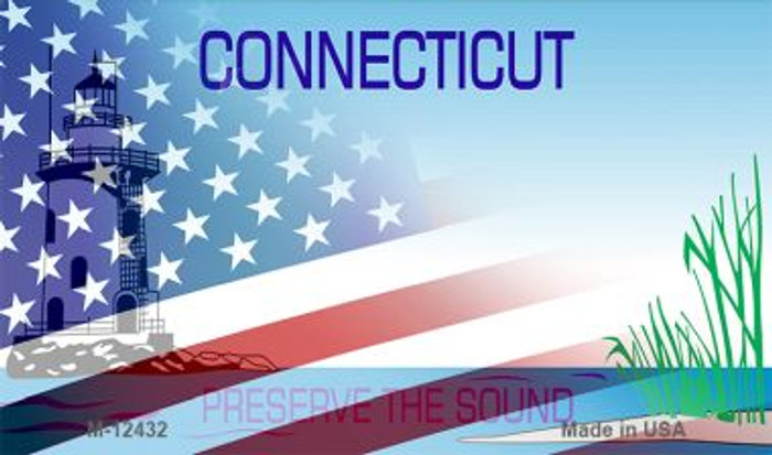 Connecticut with American Flag Novelty Metal Magnet M-12432