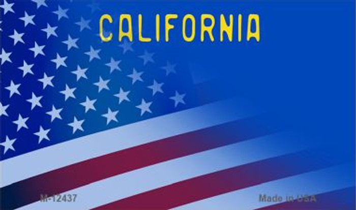 California with American Flag Novelty Metal Magnet M-12437