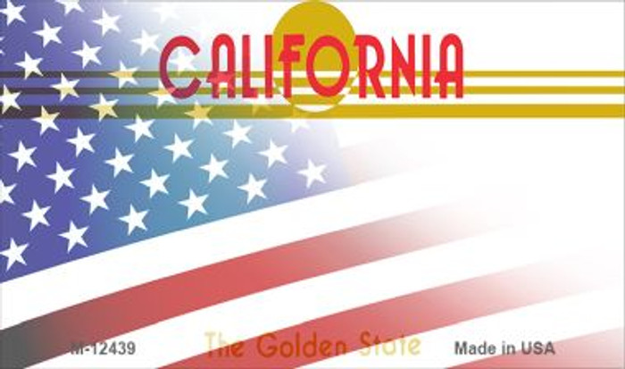 California with American Flag Novelty Metal Magnet M-12439