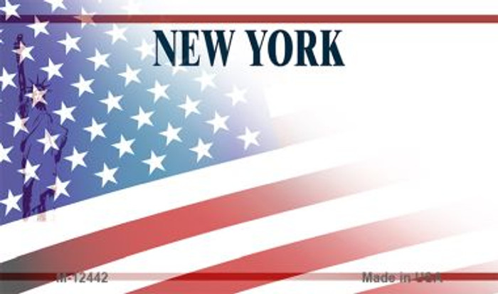 New York with American Flag Novelty Metal Magnet M-12442