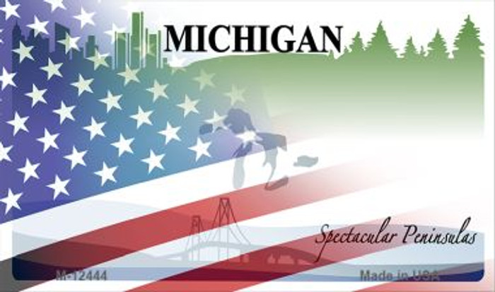 Michigan with American Flag Novelty Metal Magnet M-12444