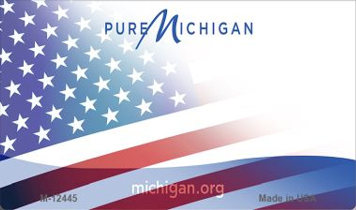 Michigan with American Flag Novelty Metal Magnet M-12445