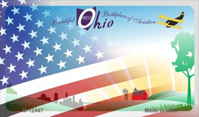 Ohio with American Flag Novelty Metal Magnet M-12447