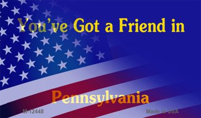 Pennsylvania with American Flag Novelty Metal Magnet M-12448