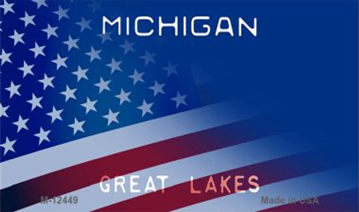 Michigan with American Flag Novelty Metal Magnet M-12449