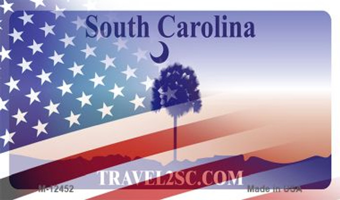 South Carolina with American Flag Novelty Metal Magnet M-12452