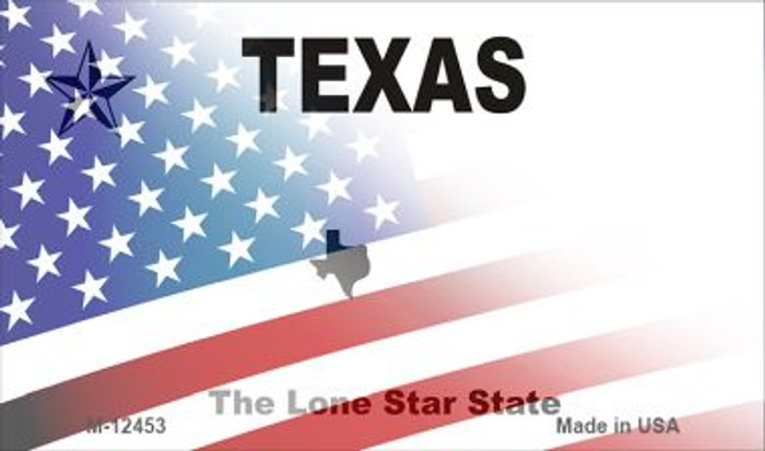 Texas with American Flag Novelty Metal Magnet M-12453