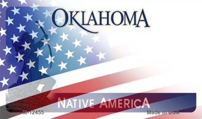 Oklahoma with American Flag Novelty Metal Magnet M-12455