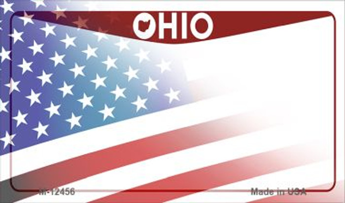 Ohio with American Flag Novelty Metal Magnet M-12456