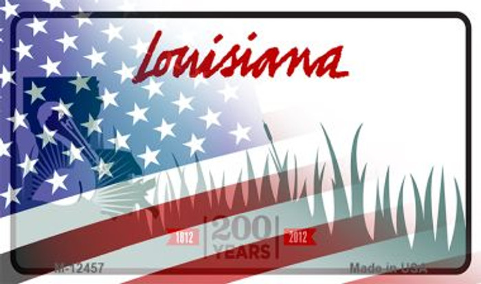 Louisiana with American Flag Novelty Metal Magnet M-12457