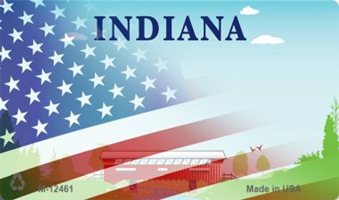 Indiana with American Flag Novelty Metal Magnet M-12461