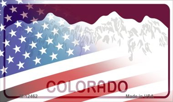 Colorado with American Flag Novelty Metal Magnet M-12462