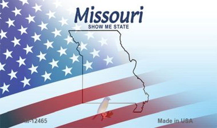 Missouri with American Flag Novelty Metal Magnet M-12465