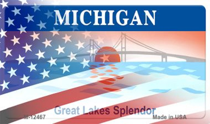 Michigan with American Flag Novelty Metal Magnet M-12467