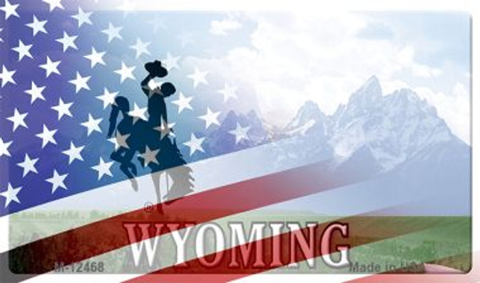 Wyoming with American Flag Novelty Metal Magnet M-12468