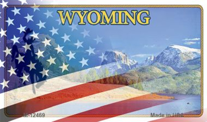 Wyoming with American Flag Novelty Metal Magnet M-12469