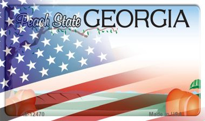 Georgia with American Flag Novelty Metal Magnet M-12470