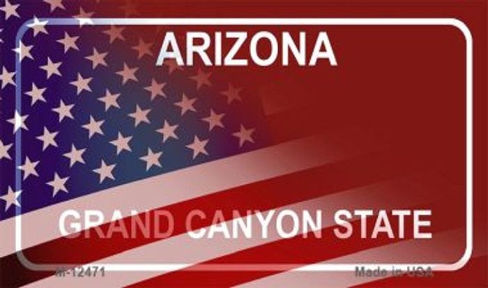 Arizona with American Flag Novelty Metal Magnet M-12471