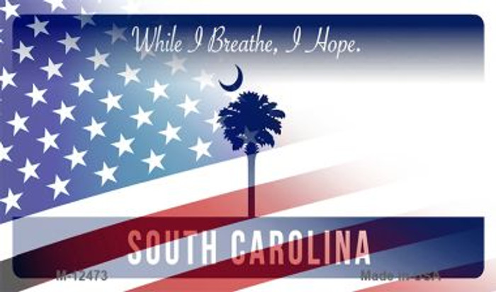 South Carolina with American Flag Novelty Metal Magnet M-12473