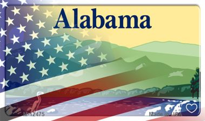 Alabama with American Flag Novelty Metal Magnet M-12475