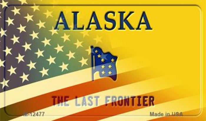Alaska with American Flag Novelty Metal Magnet M-12477