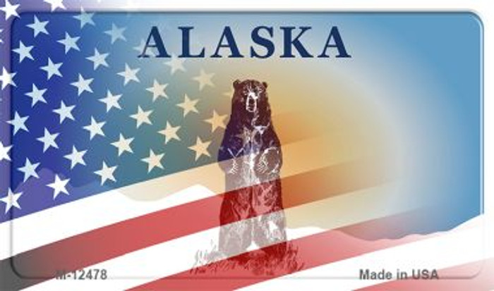Alaska with American Flag Novelty Metal Magnet M-12478