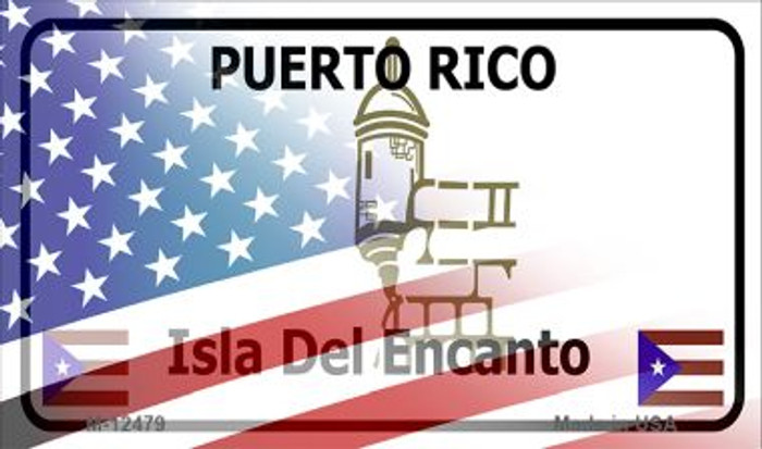 Puerto Rico with American Flag Novelty Metal Magnet M-12479