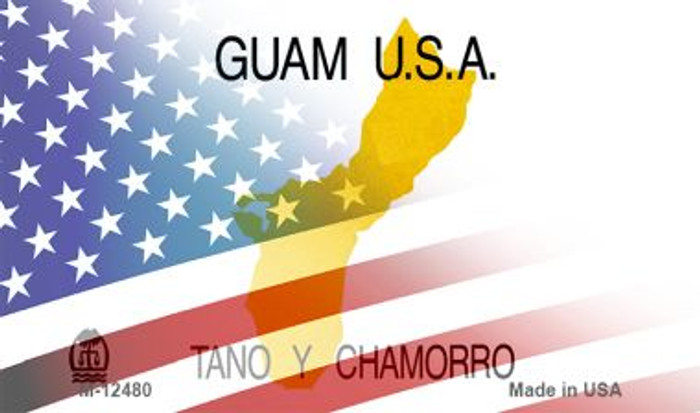 Guam with American Flag Novelty Metal Magnet M-12480