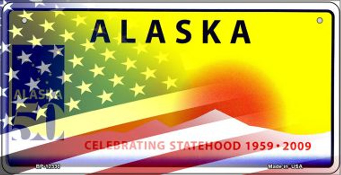 Alaska with American Flag Novelty Metal Bicycle Plate BP-12330