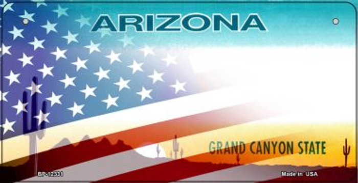 Arizona with American Flag Novelty Metal Bicycle Plate BP-12331
