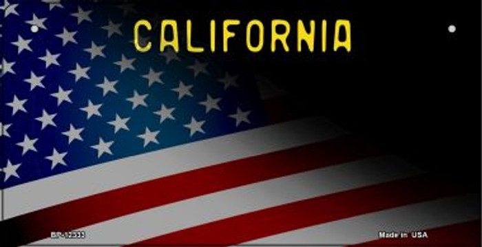 California with American Flag Novelty Metal Bicycle Plate BP-12333