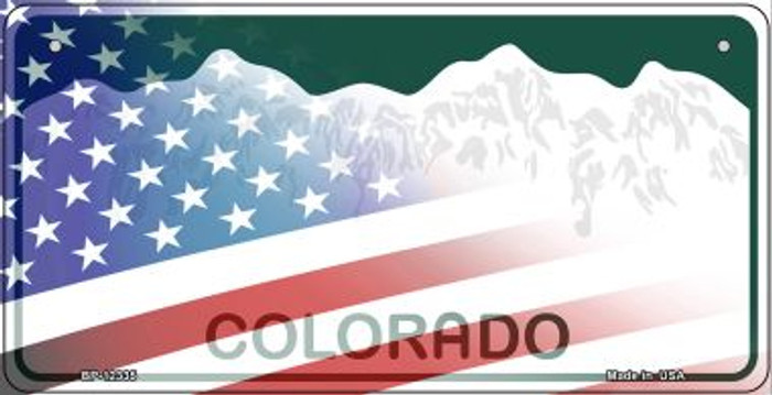 Colorado with American Flag Novelty Metal Bicycle Plate BP-12335