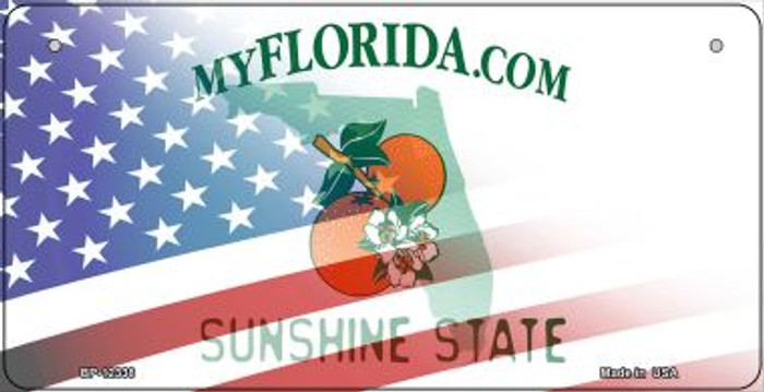 Florida with American Flag Novelty Metal Bicycle Plate BP-12338