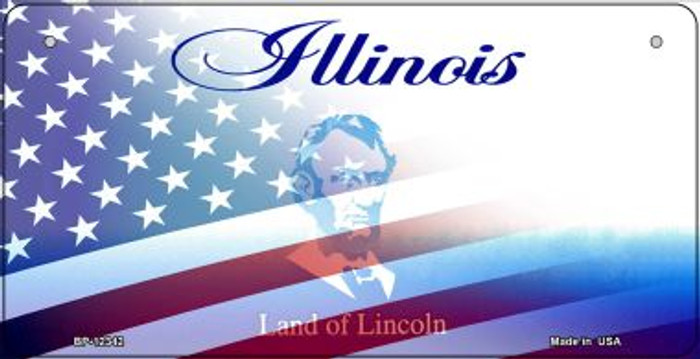 Illinois with American Flag Novelty Metal Bicycle Plate BP-12342