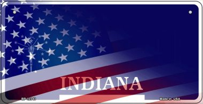 Indiana with American Flag Novelty Metal Bicycle Plate BP-12343