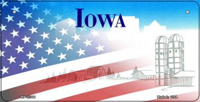 Iowa with American Flag Novelty Metal Bicycle Plate BP-12344