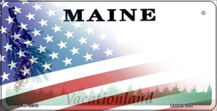 Maine with American Flag Novelty Metal Bicycle Plate BP-12348