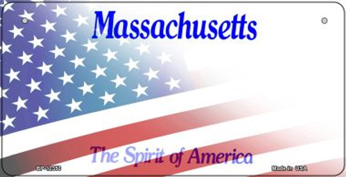 Massachusetts with American Flag Novelty Metal Bicycle Plate BP-12350