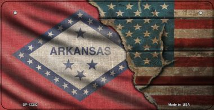 Arkansas/American Flag Novelty Metal Bicycle Plate BP-12383
