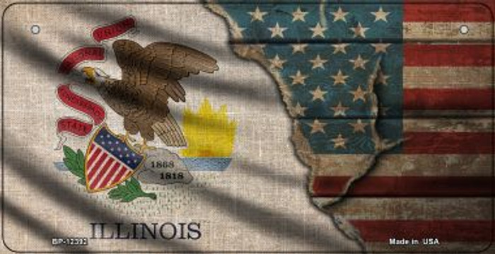 Illinois/American Flag Novelty Metal Bicycle Plate BP-12392