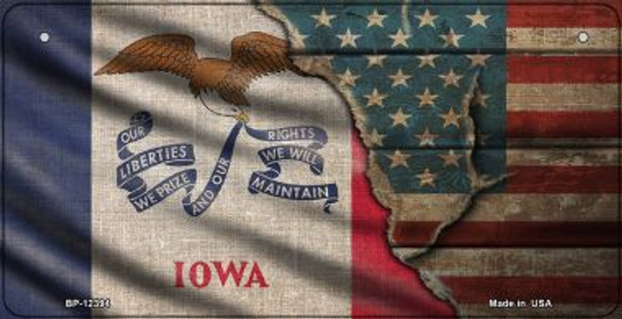 Iowa/American Flag Novelty Metal Bicycle Plate BP-12394