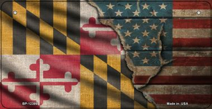 Maryland/American Flag Novelty Metal Bicycle Plate BP-12399