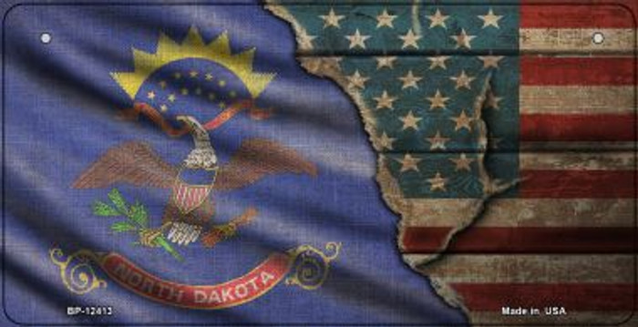 North Dakota/American Flag Novelty Metal Bicycle Plate BP-12413