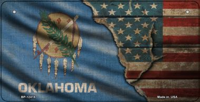 Oklahoma/American Flag Novelty Metal Bicycle Plate BP-12415