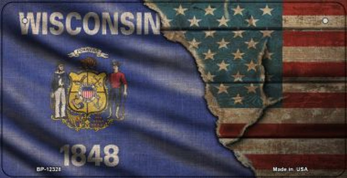 Wisconsin/American Flag Novelty Metal Bicycle Plate BP-12428