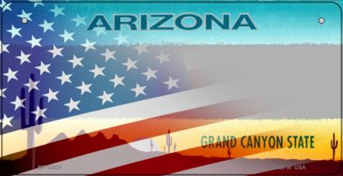 Arizona with American Flag Novelty Metal Bicycle Plate BP-12431
