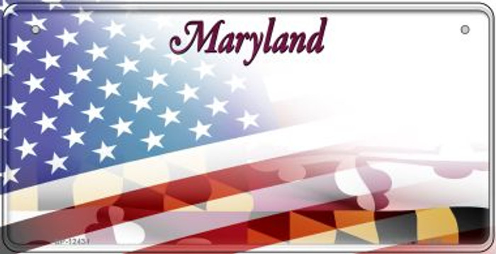 Maryland with American Flag Novelty Metal Bicycle Plate BP-12434